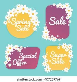 Spring Sale Banner, Poster, Flyer. Vector illustration.