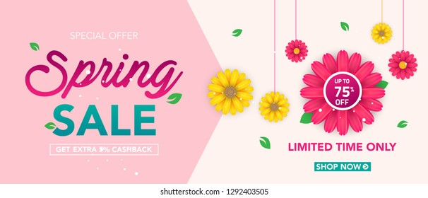 Spring sale banner template with beautiful colorful flower on pink background, for shopping sale. banner design. Poster, card, web banner. Vector illustration