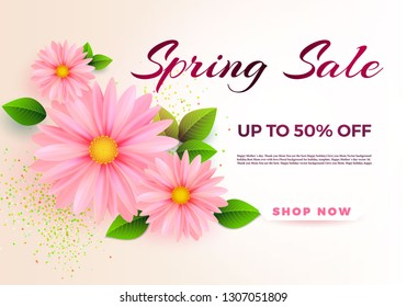 Spring sale banner template with daisy flower for online woman shopping, vector illustration. Spring sale. Place for your text. Vector illustration.