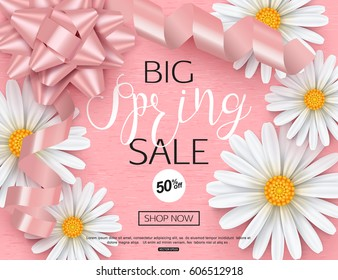 Spring sale banner template with daisy flower for online woman shopping, vector illustration.
