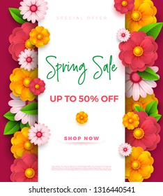 Spring sale banner template with paper vivid colors on colorful background. Seasonal discounts. Mother s day banner. Vector illustration.