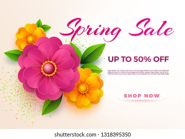 Spring sale banner template with paper spring flowers for online woman shopping, vector illustration. Spring sale. Place for your text. Vector illustration