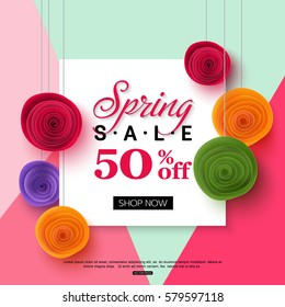 Spring sale banner template with paper flower on colorful background. Vector illustration