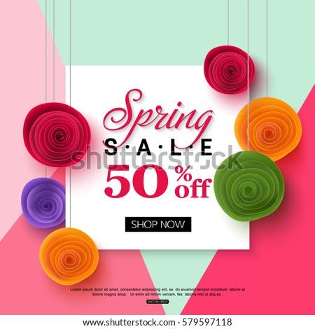 spring sale banner template paper flower のベクター画像素材