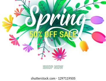 Spring sale banner vector background with flat minimal flowers, leaves, lettering sign. Floral springtime graphic design illustration.