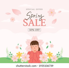 Spring Sale banner. Vector illustration of a background with a girl and cherry blossoms.