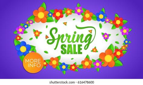 spring sale banner, vector illustration