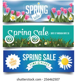 Spring sale banners or billboards with tulips and daisies EPS 10 vector royalty free stock illustration for greeting card, ad, promotion, poster, flier, blog, article, social media, marketing