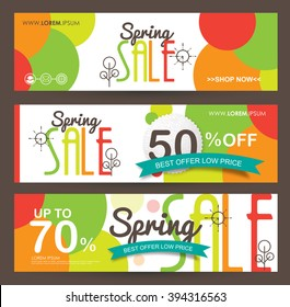 Spring sale banners poster tag design. voucher template.Vector illustration