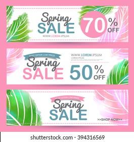 Spring sale banners poster tag design. voucher template.Vector illustration