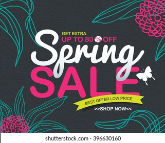 spring sale banners poster tag design.voucher template.Vector illustration