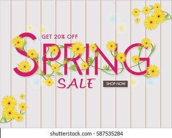 Spring sale banner,spring season background,sale poster,discount banner,flower banner,20% off.Vector illustration