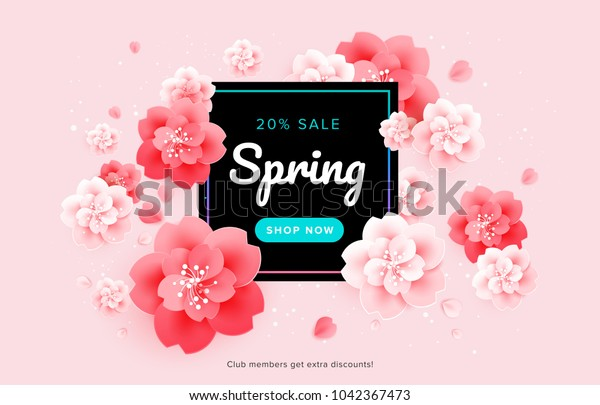 Spring Sale Beautiful Banner Design Pink Stock Vector Royalty Free 1042367473