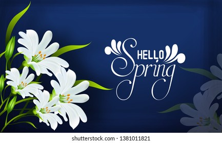 Spring sale with beautiful flowers, background