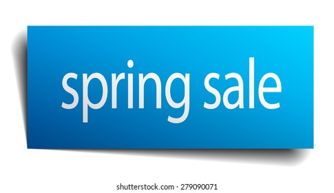 spring sale blue paper sign isolated on white