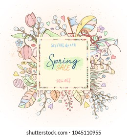 Spring sale card can be used for holiday cards, invitation, postcard, banner or website. Hand drawn illustration of flowers, leaves, feathers, balloon etc.