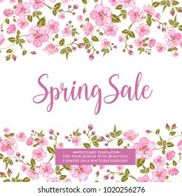 Spring sale card with text best offer. Blooming sakura rectangle frame around text over white background. Vector illustration.