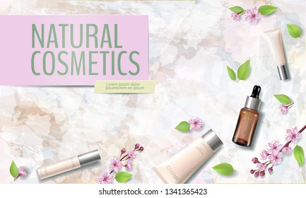 Spring sale cherry blossom organic cosmetic ad template. Skincare essence pink spring promo offer flower 3D realistic mockup. Sakura marble background flat lay silver vector illustration