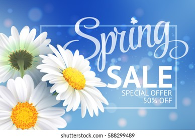 Spring sale concept. Summer background with chamomile and blue sky background. Template for banners, web, flyer, voucher. Vector illustration.