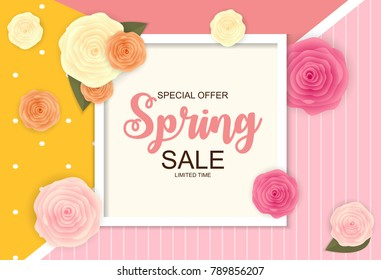 Spring Sale Cute Background with Flowers. Vector Illustration EPS10