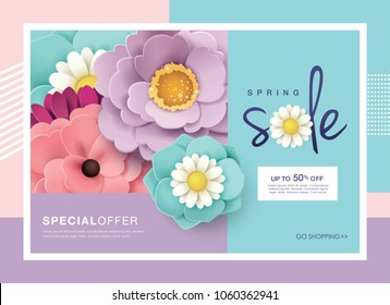Spring sale design with beautiful blossom flowers