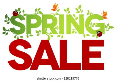 Spring sale design. Beautiful colorful illustration, green leaves, ladybugs and butterflies. Bold and bright.