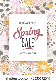 Spring sale design template with beautiful flower background