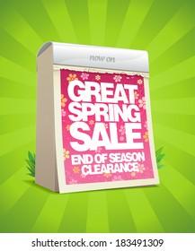 Spring sale design template in form of tear-off calendar