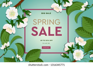 Spring sale floral banner with blooming cherry flowers on green background for seasonal design of banner, flyer, poster, web site, vector illustration.