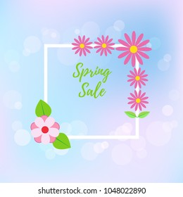 Spring sale flyer on blur background. Vector illustration.