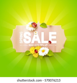 Spring sale flyer - paper label with flowers and ladybugs on green background