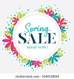 Spring sale graphic with pink and blue flowers and stylish grey background