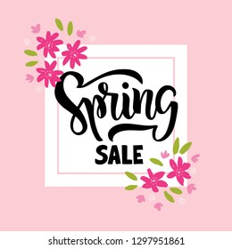Spring Sale - hand drawn brush lettering. Spring season advertising. Template with flowers and leaf for card, invitation, banner, web, poster. Vector illustration on pink background