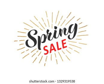 Spring sale hand written lettering with retro styled golden sun rays. Discount banner, vector illustration.