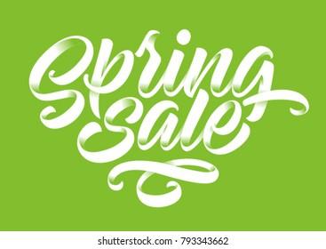 spring sale, handwritten inscription, calligraphy, lettering, green background