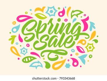 spring sale, handwritten inscription, calligraphy, lettering, pattern