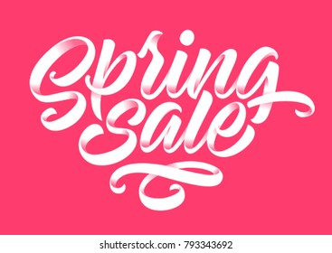 spring sale, handwritten inscription, calligraphy, lettering, pink background