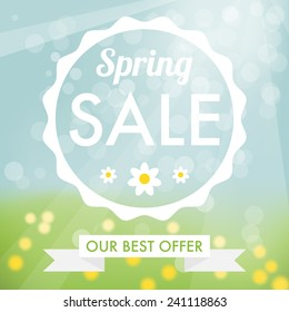 Spring sale label with sky and grass with flowers on background and white flat label.