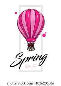 Spring sale leaflet template with air balloon with tulip flowers in its basket, white backdrop