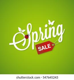 Spring Sale Lettering Design Background.