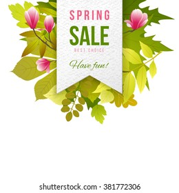 Spring sale paper emblem with leaves and flowers