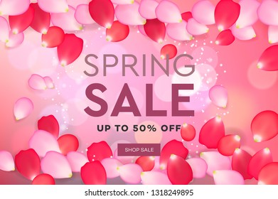 Spring Sale with pink flying petals. Web banner or poster for e-commerce, on-line cosmetics shop, fashion & beauty shop, store, vector illustration
