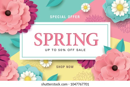 Spring sale poster with beautiful flowers on colourful background