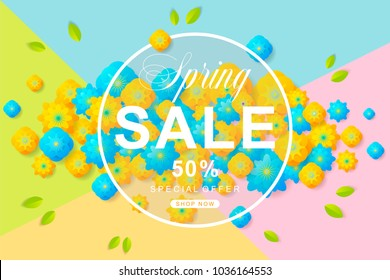 Spring Sale poster with flower and leaves decoration. For Sale discount, Web Promotion, Poster Banner Background, Sign and symbol. Luxury unique style, yellow and blue color, Vector illustration