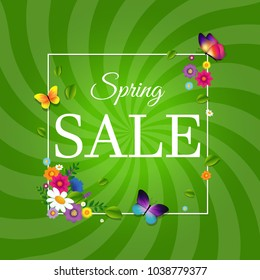 Spring Sale Poster With Sunburst With Gradient Mesh, Vector Illustration