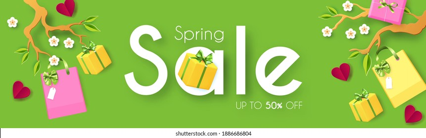 Spring Sale poster template. Seasom offer design with blooming branch, gift box and bags. Paper cut poster.