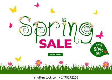 Spring sale poster, vector illustration EPS 10.