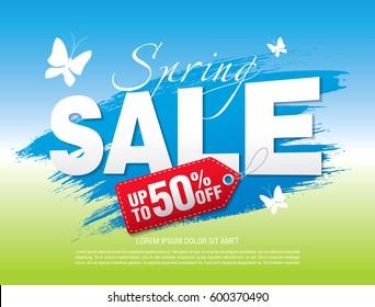 Spring sale poster, vector illustration