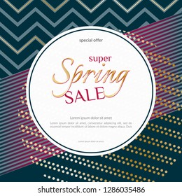 Spring sale round banner on elegant dark luxury background with golden zigzag lines specks Banner design element for discounts sales luxury offers seasonal sales promotion Vector summer spring banner