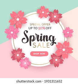 Spring sale round vector banner with pink cherry flowers and frame isolated on colorful background. Design for advertising, promotion, flyer, invitation, card, poster, website